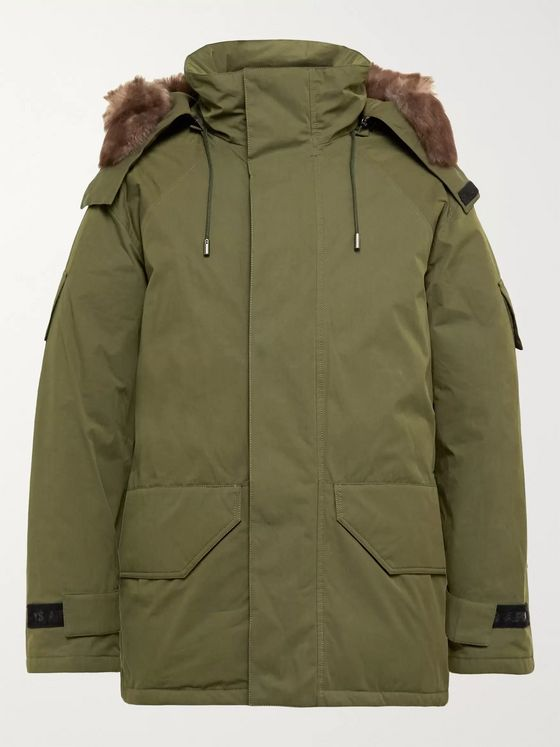 Yves Salomon Shearling-Trimmed Cotton-Blend Twill Hooded Down Parka