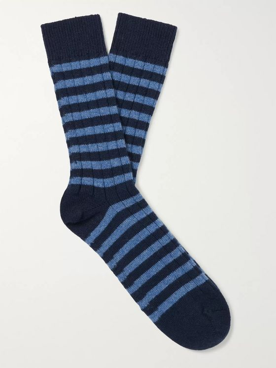 William Lockie Ribbed Striped Cashmere-Blend Socks