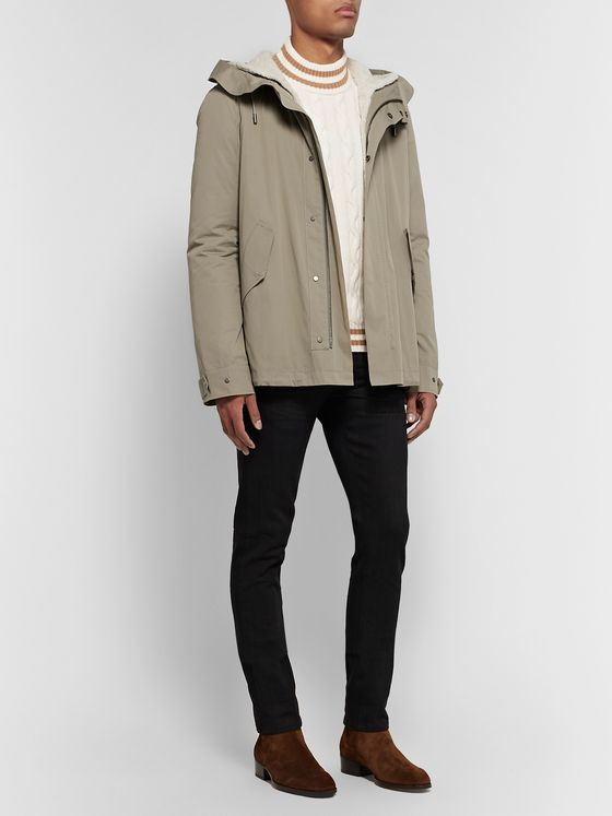 Yves Salomon Cotton-Blend Hooded Down Parka with Detachable Shearling and Satin Lining