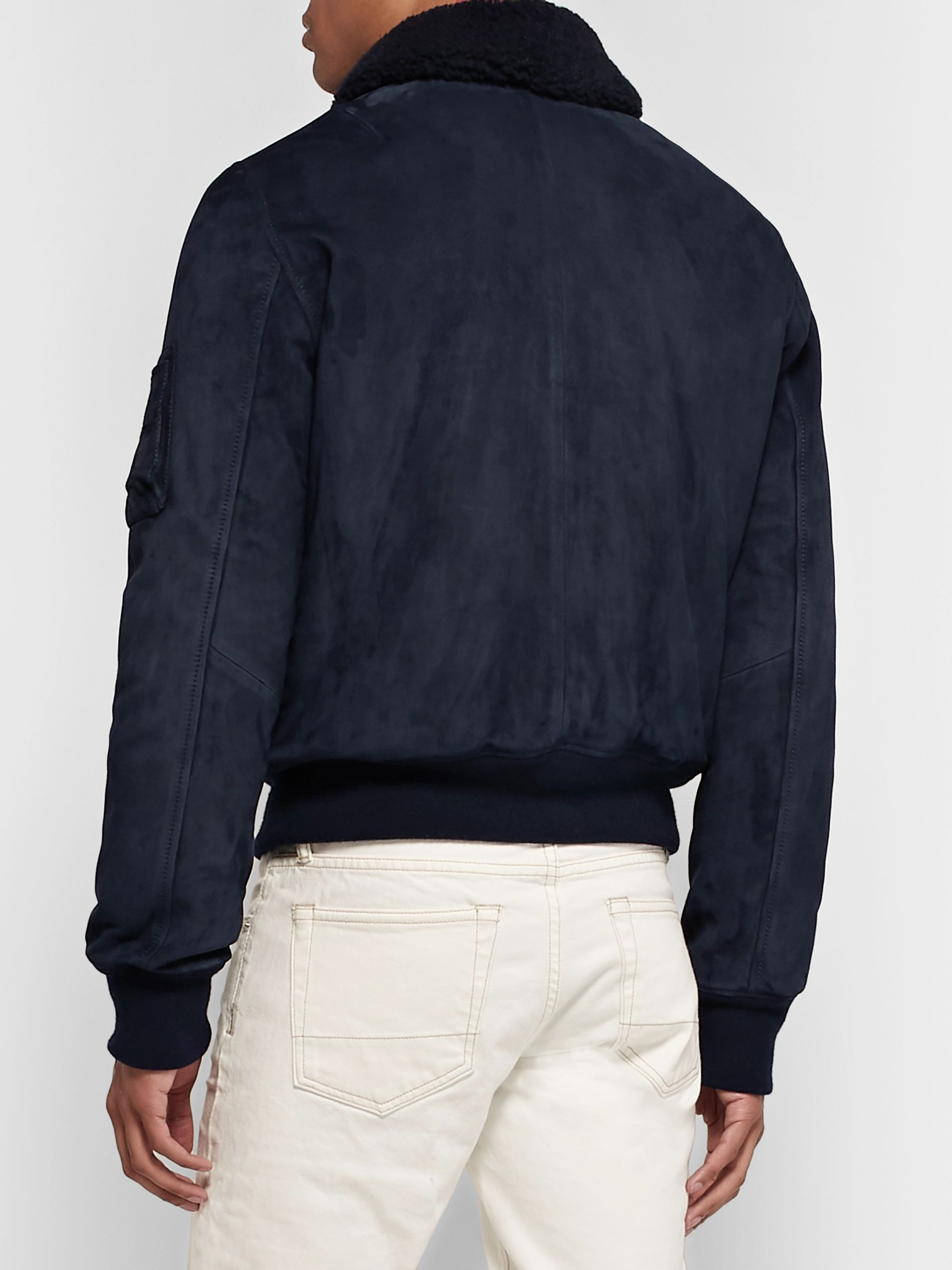 Yves Salomon Shearling-Lined Suede Down Bomber Jacket