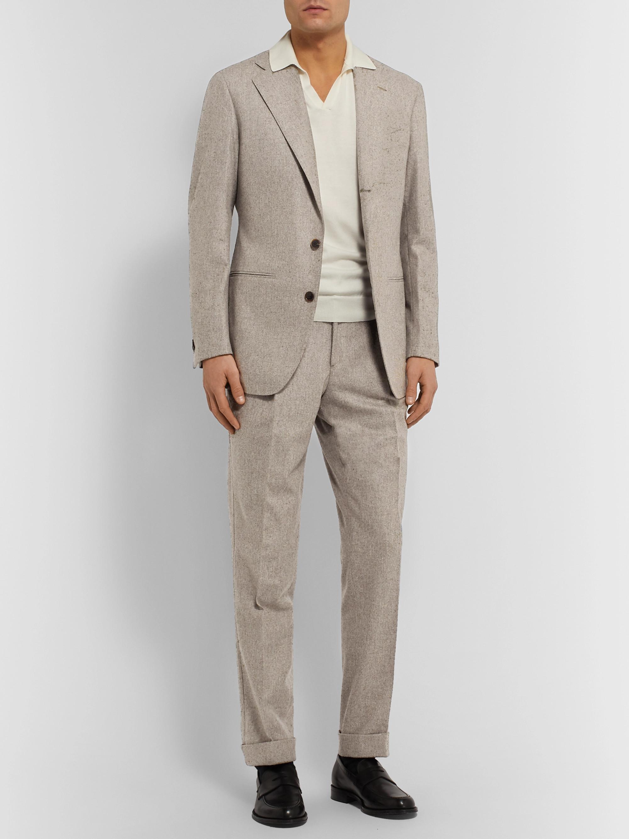 SAMAN AMEL Beige Unstructured Mélange Wool Suit Jacket