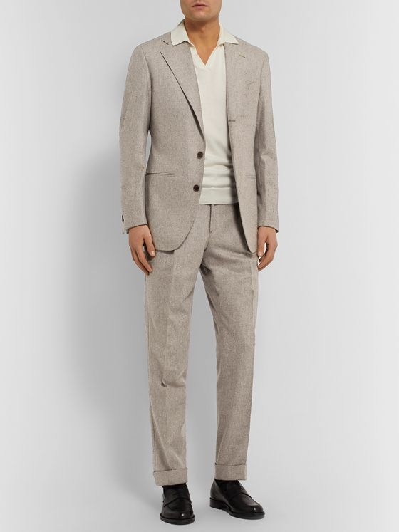 SAMAN AMEL Beige Unstructured Mélange Wool Suit Jacket