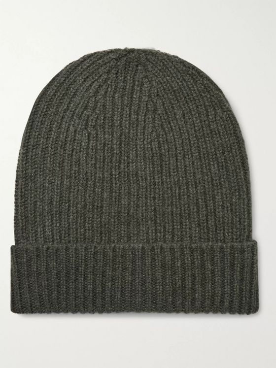 William Lockie Ribbed Mélange Cashmere Beanie