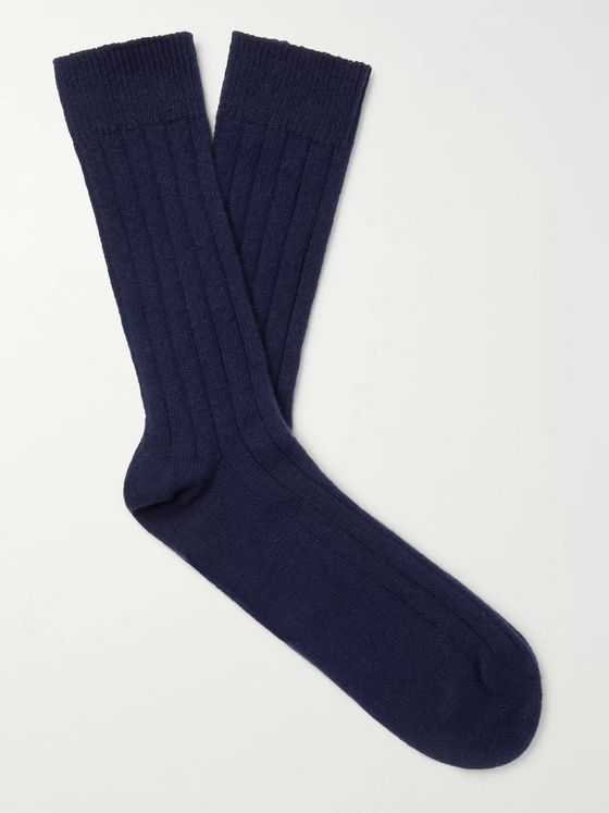 William Lockie Ribbed Cashmere-Blend Socks