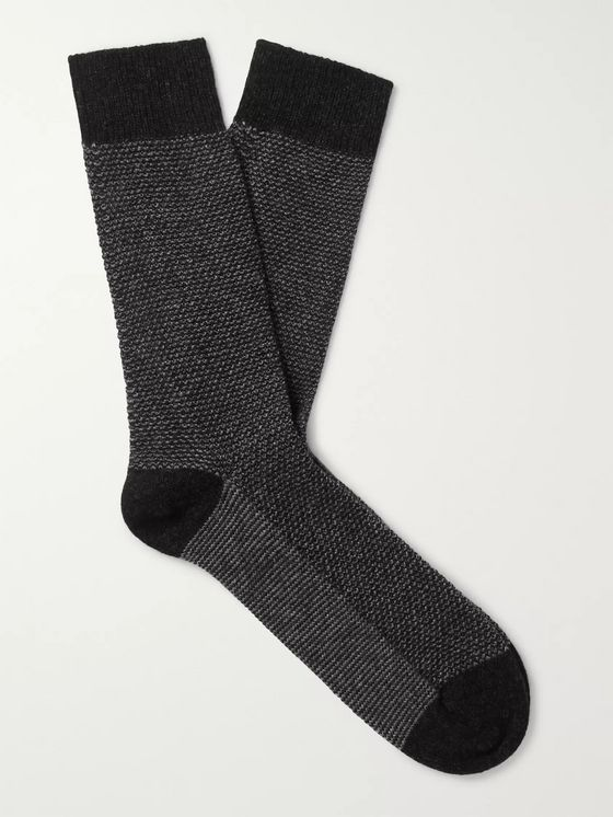 William Lockie Mélange Cashmere-Blend Socks