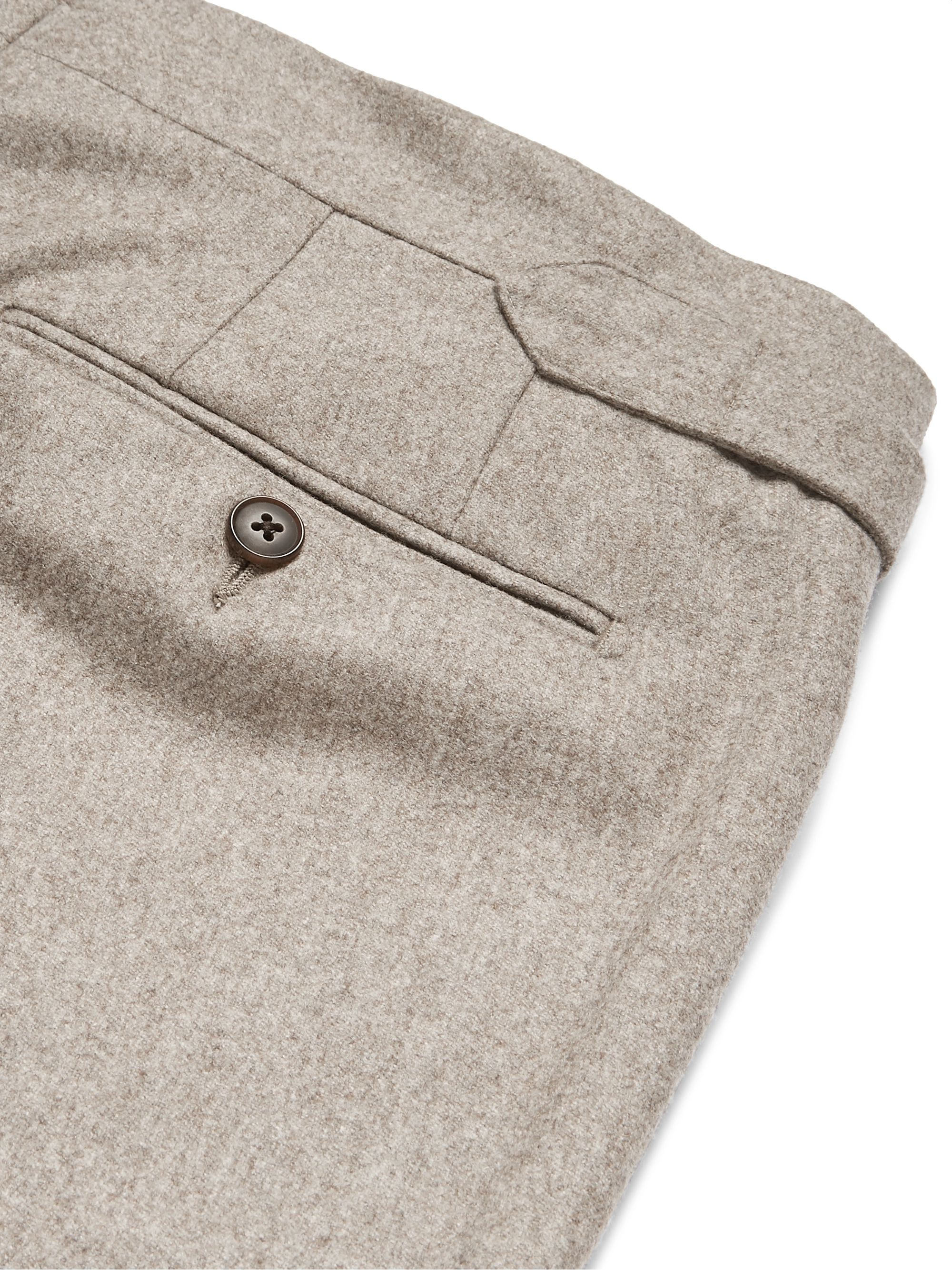 Beige Tapered Pleated Mélange Wool Suit Trousers   Saman Amel