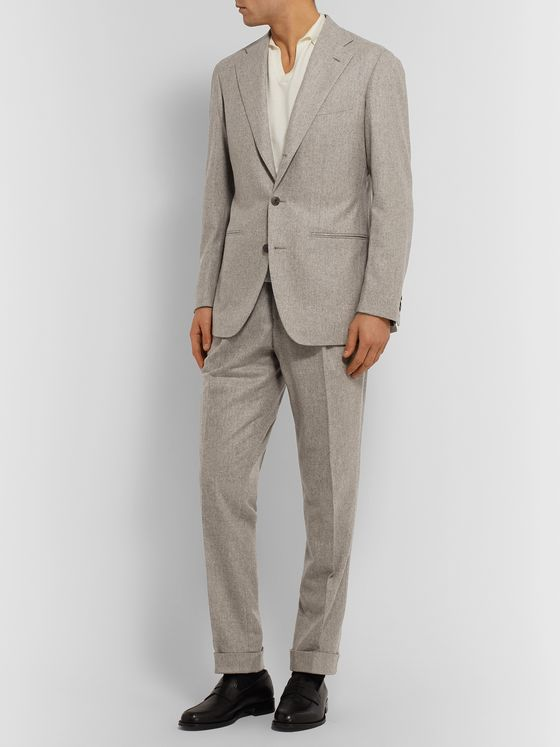 Saman Amel Beige Tapered Pleated Mélange Wool Suit Trousers