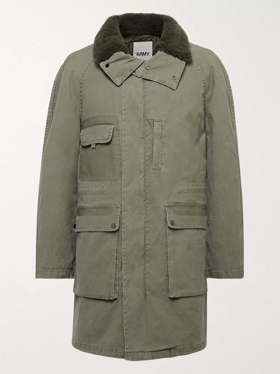 Yves Salomon Shearling-Trimmed Gabardine Parka with Detachable Liner