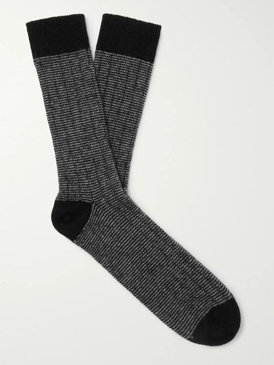 William Lockie Striped Cashmere-Blend Socks