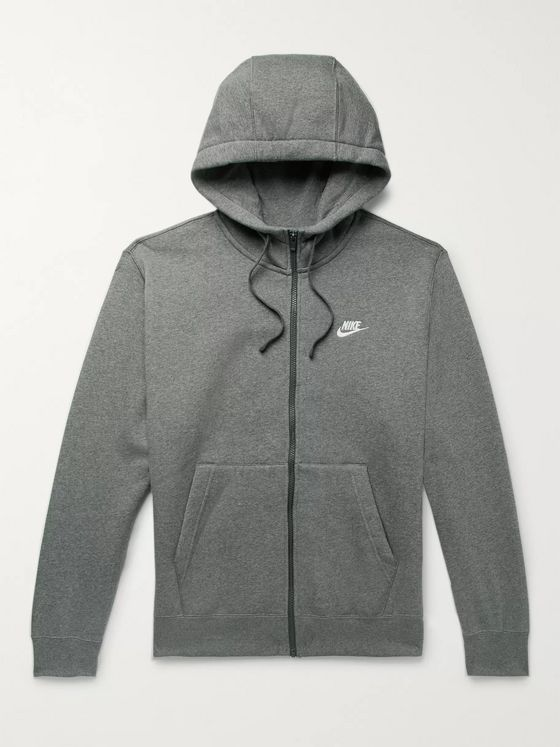 Nike Sportswear Club Mélange Fleece-Back Cotton-Blend Jersey Zip-Up Hoodie
