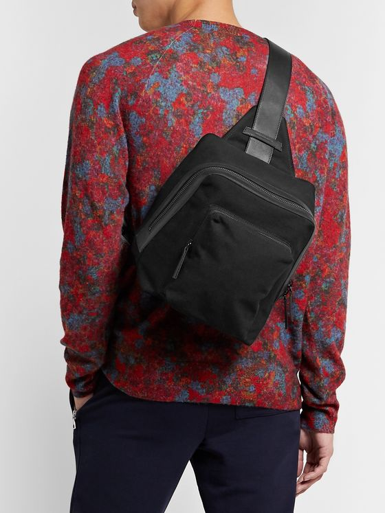Dries Van Noten Leather-Trimmed Canvas Sling Backpack