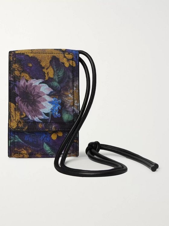 Dries Van Noten Leather-Trimmed Floral-Print Nylon Phone Case