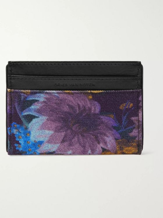 Dries Van Noten Floral-Print Canvas and Full-Grain Leather Cardholder