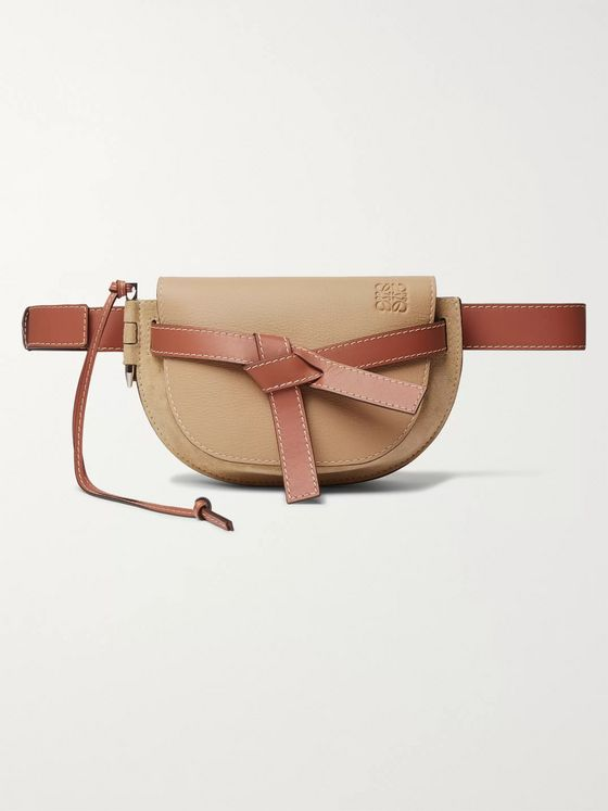 Loewe Gate Large Textured-Leather and Suede Belt Bag