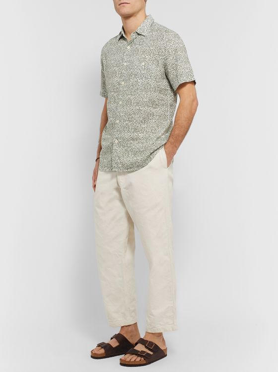 Faherty Printed Linen-Blend Shirt