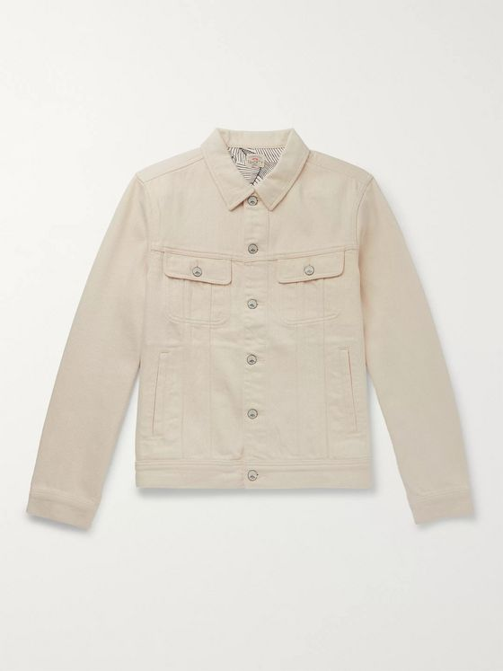 Faherty Home Spun Storm Rider Denim Trucker Jacket