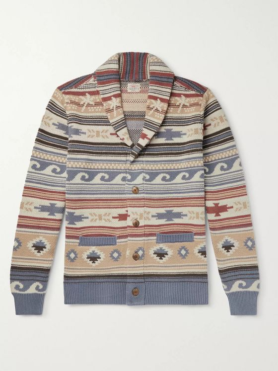 Faherty Shawl-Collar Fair Isle Intarsia Linen and Cotton-Blend Cardigan