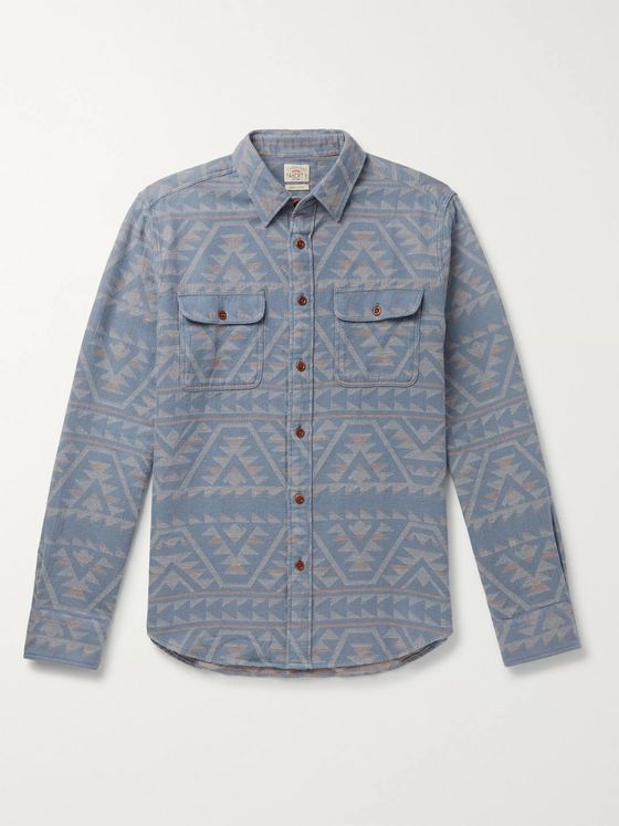 Faherty Canyon Organic Cotton-Jacquard Overshirt