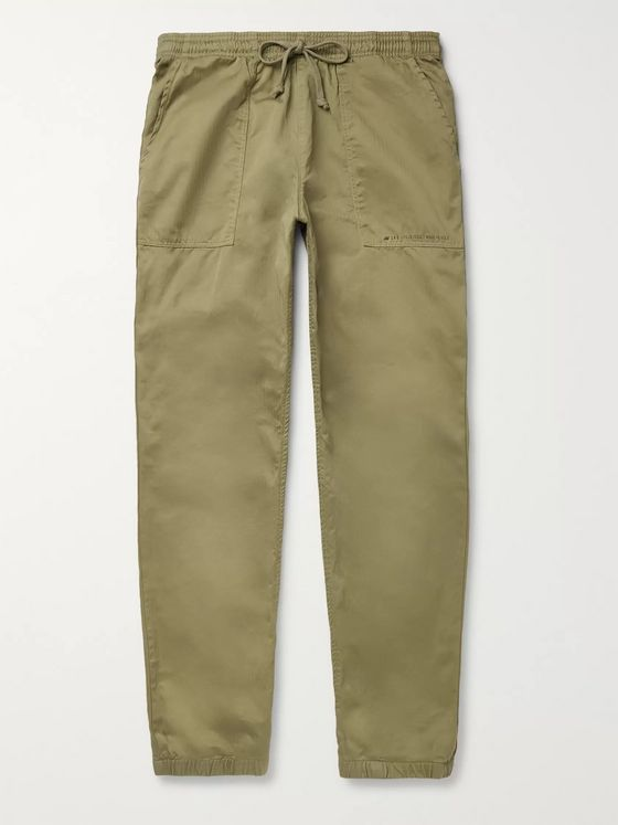 Save Khaki United + New Balance Grey Tapered Herringbone Cotton Drawstring Trousers