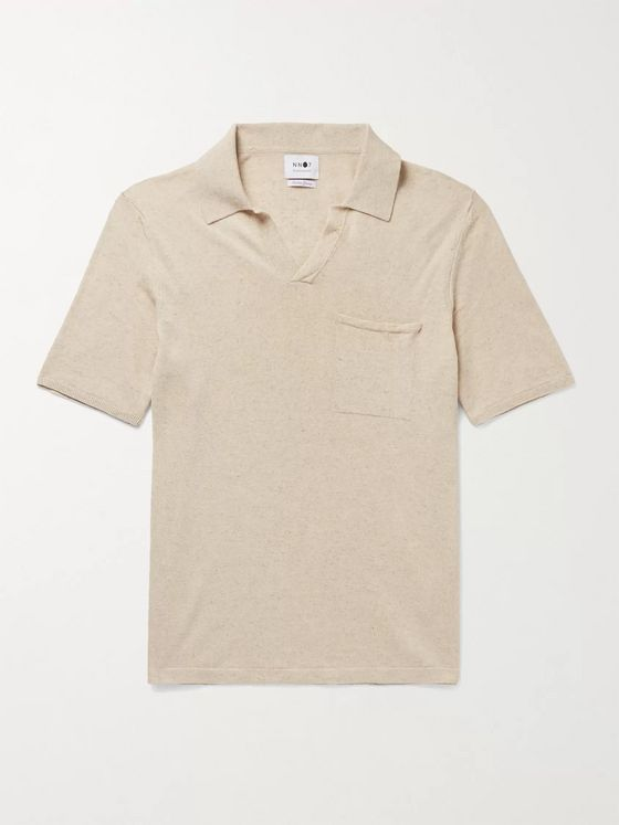 NN07 Ryan Slim-Fit Mélange Cotton and Linen-Blend Polo Shirt