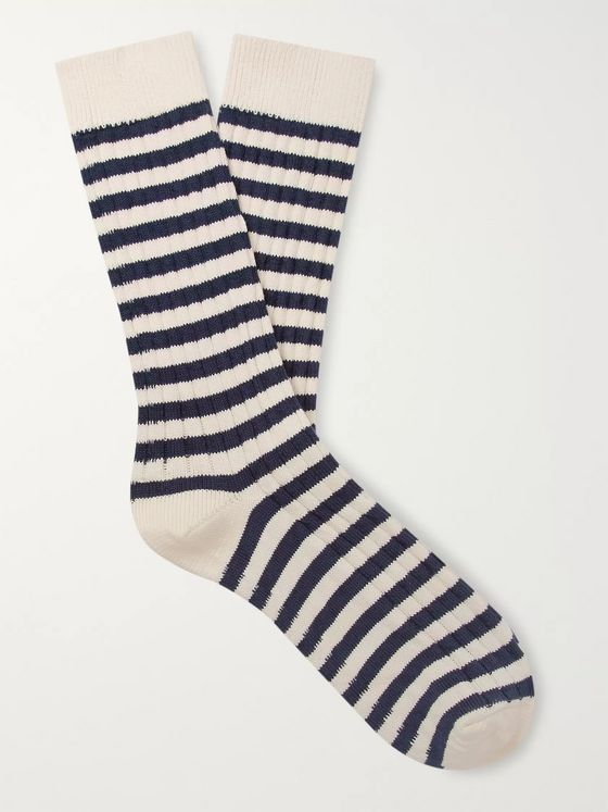 The Workers Club Striped Ribbed Cotton and Nylon-Blend Socks