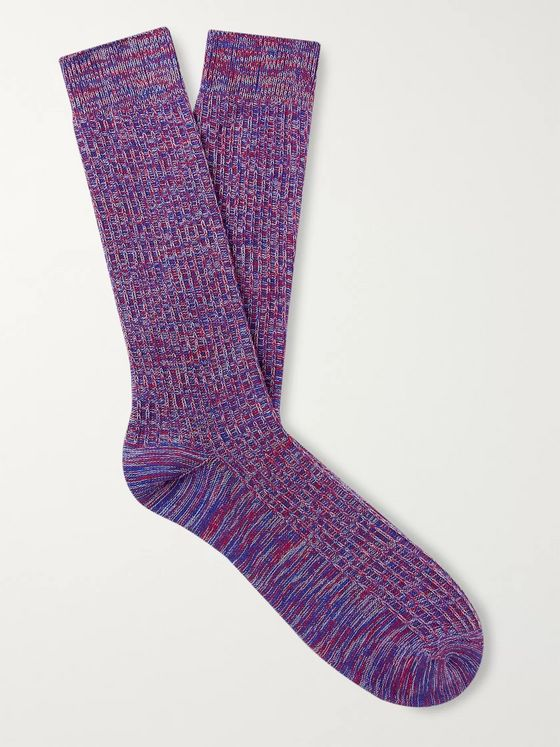 The Workers Club Mélange Ribbed Cotton and Nylon-Blend Socks