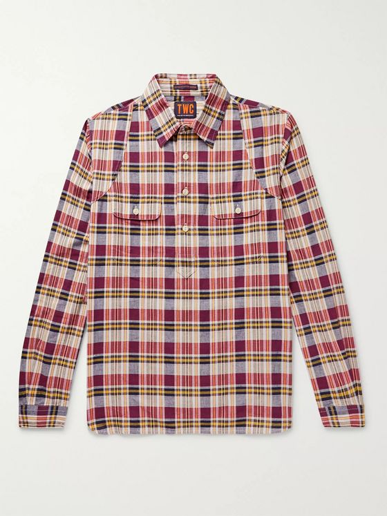 The Workers Club Madras Cotton Half-Placket Shirt