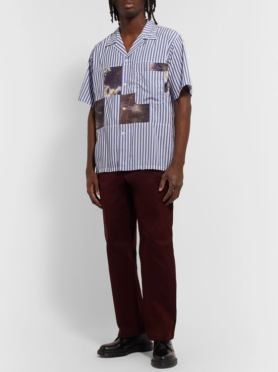 nanamica Camp-Collar Patchwork Striped Poplin Shirt