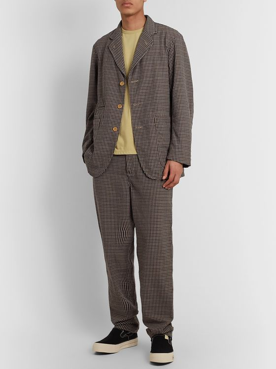nanamica Club Gingham Wool-Blend Hopsack Suit Trousers