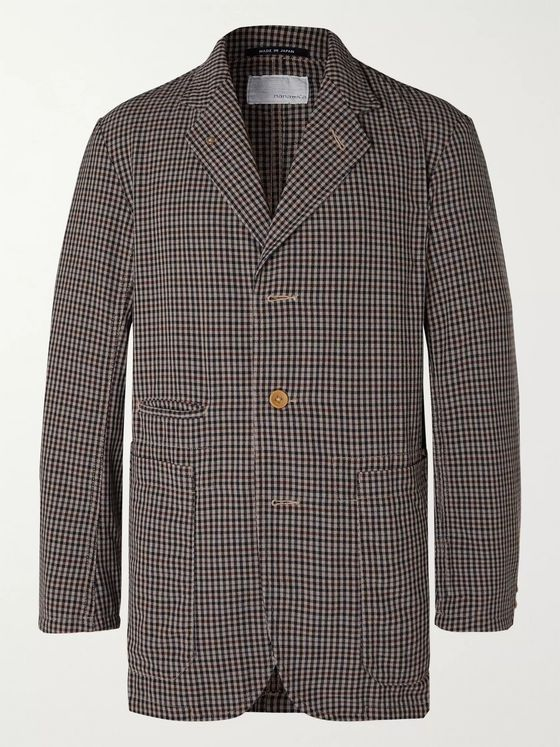 nanamica Club Gingham Wool-Blend Hopsack Suit Jacket