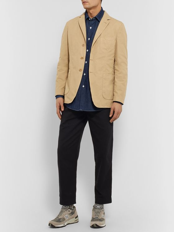 Aspesi Beige Slim-Fit Unstructured Garment-Dyed Cotton Blazer