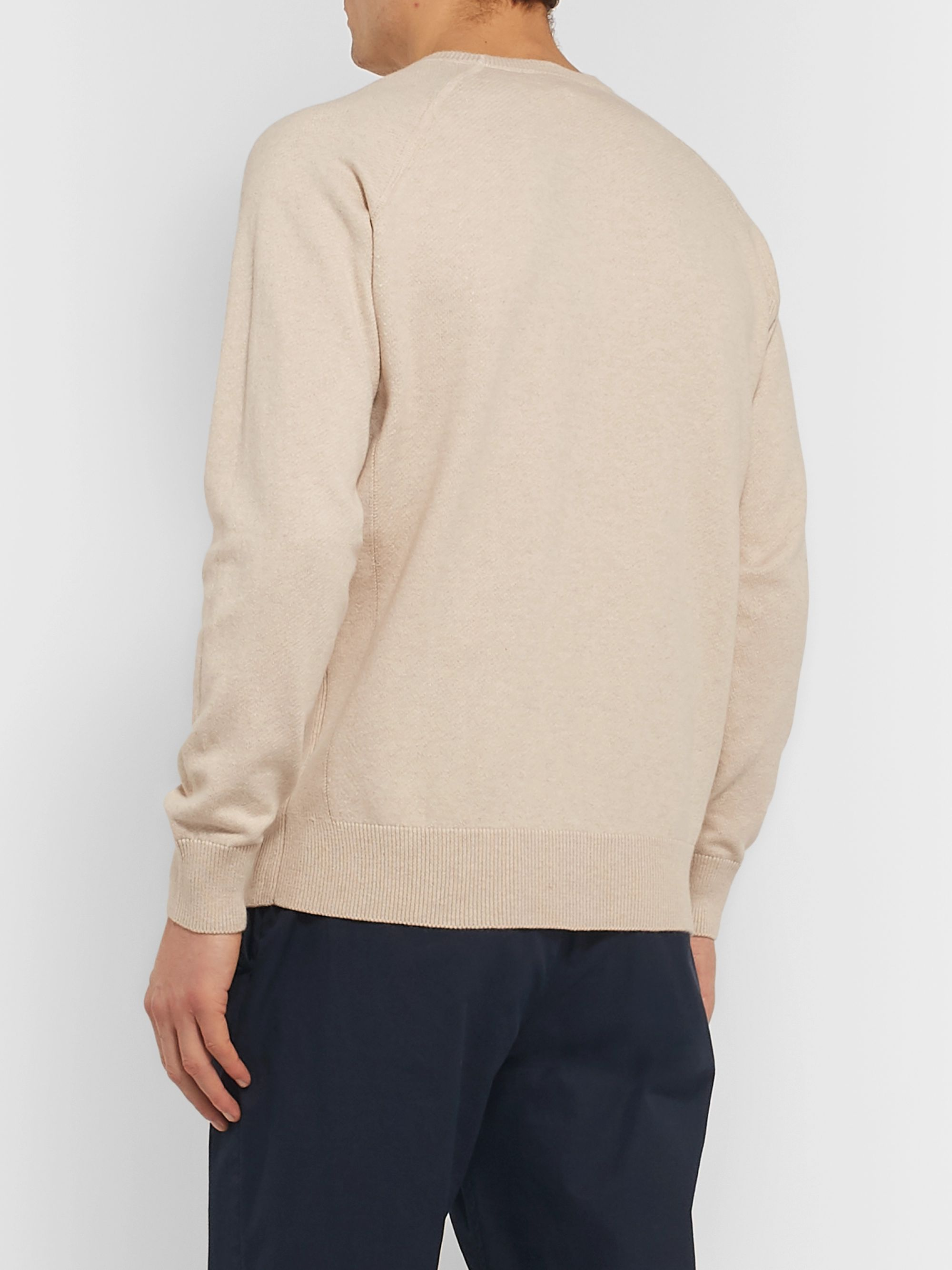 Aspesi Slim-Fit Loopback Cotton, Cashmere and Wool-Blend Sweater
