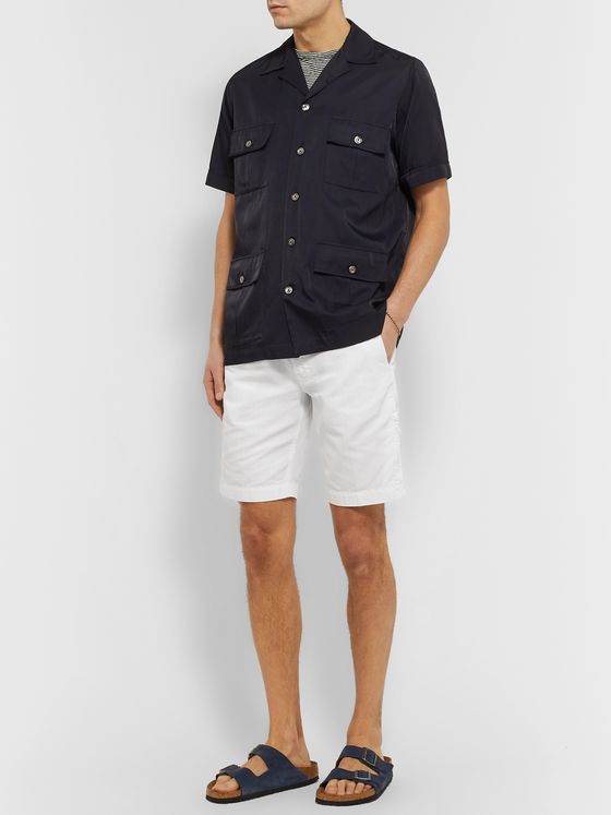 Aspesi Slim-Fit Cotton and Linen-Blend Twill Bermuda Shorts