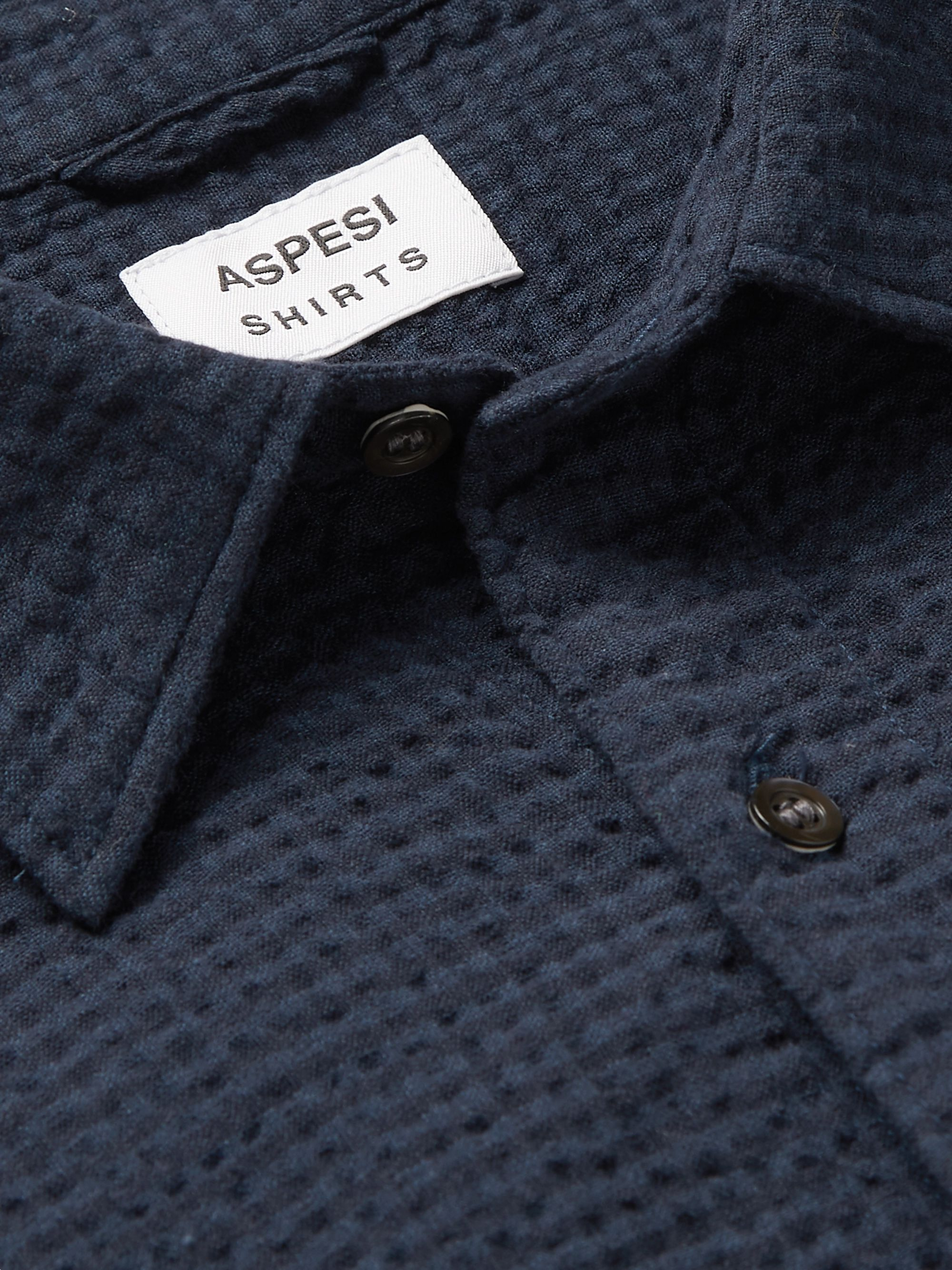 Aspesi Slim-Fit Cotton-Seersucker Shirt