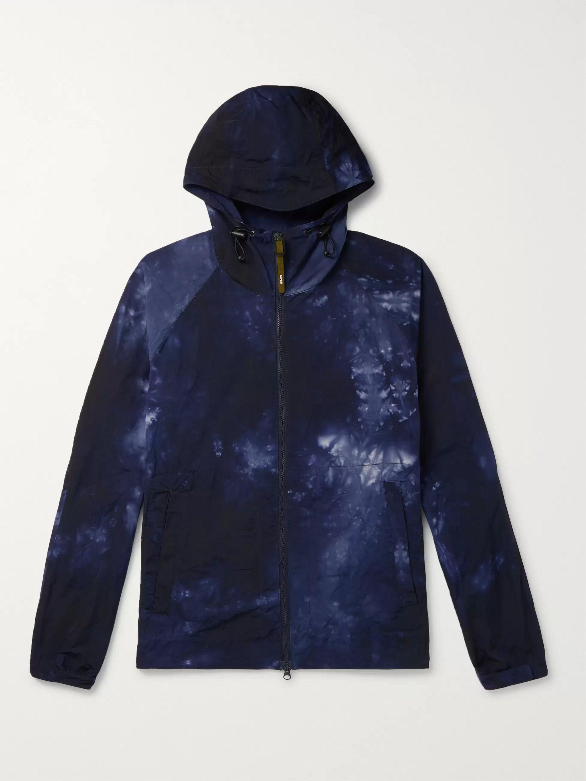 Blue Tie-Dyed Hooded Shell Jacket | Aspesi | MR PORTER