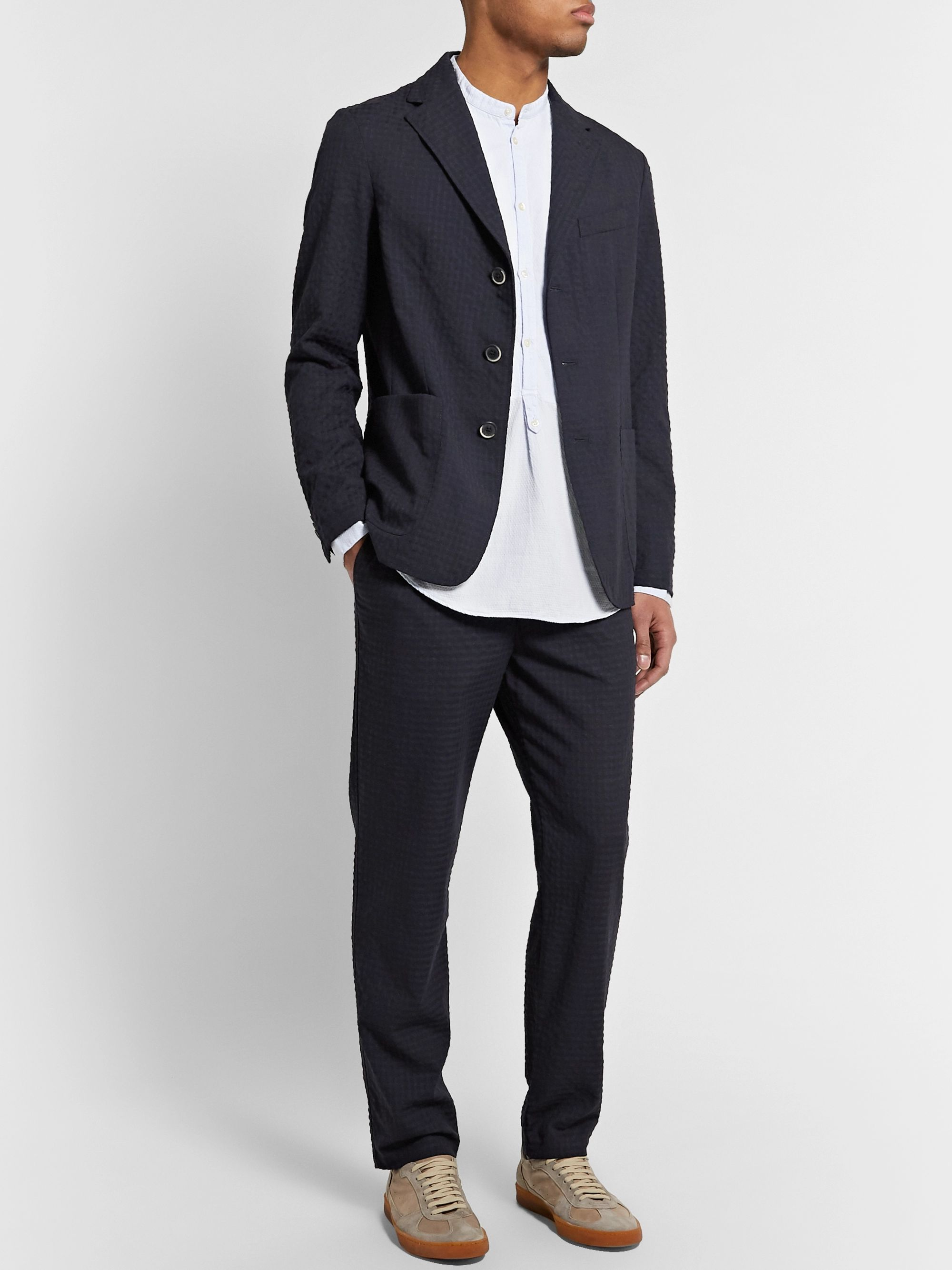 Barena Slim-Fit Wool-Blend Seersucker Drawstring Trousers