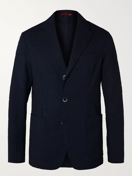 Barena Navy Unstructured Virgin Wool-Blend Seersucker Suit Jacket