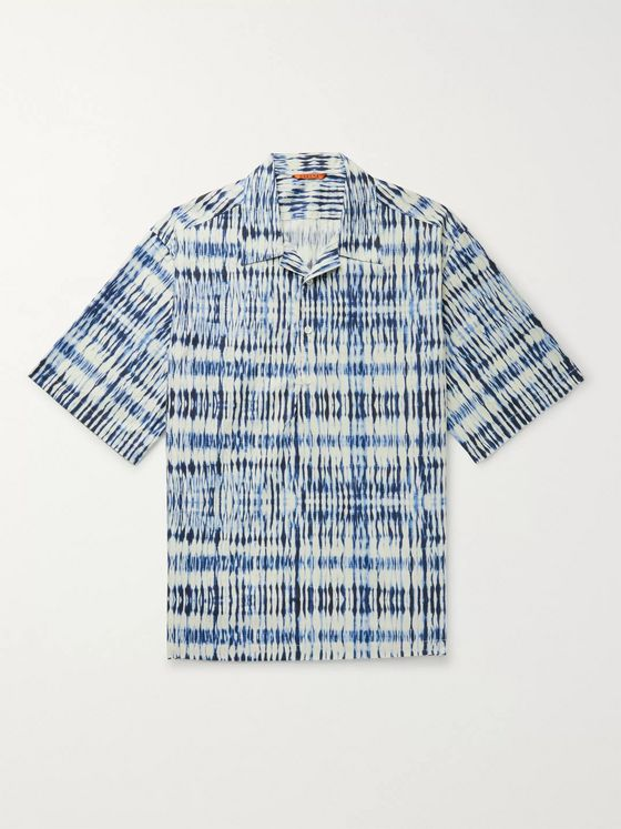 Barena Camp-Collar Tie-Dyed Cotton Half-Placket Shirt