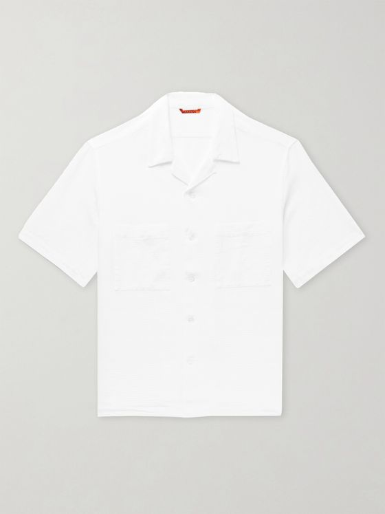 Barena Camp-Collar Textured-Cotton Shirt