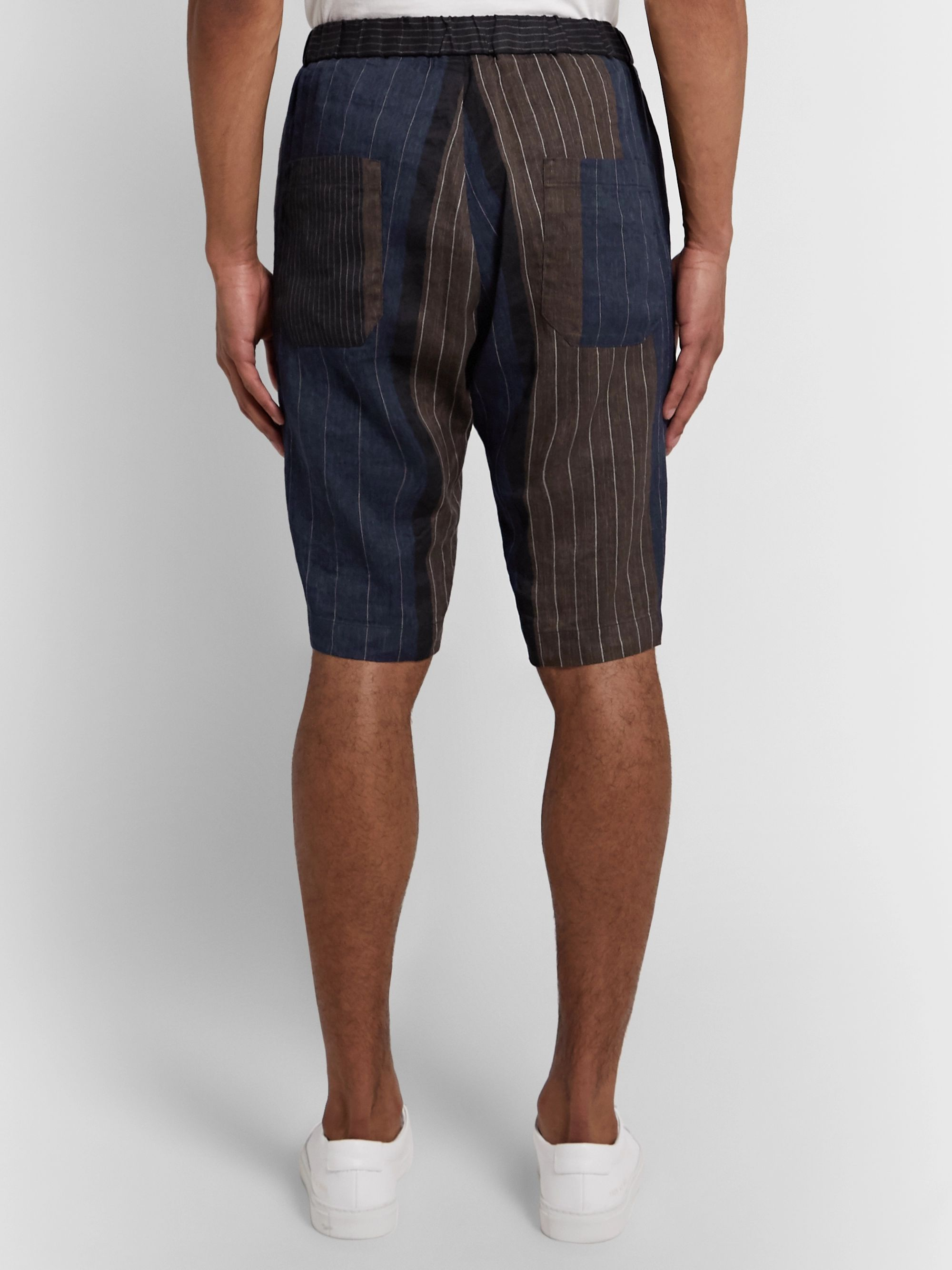 Barena Slim-Fit Patchwork Striped Linen and Cotton-Blend Shorts