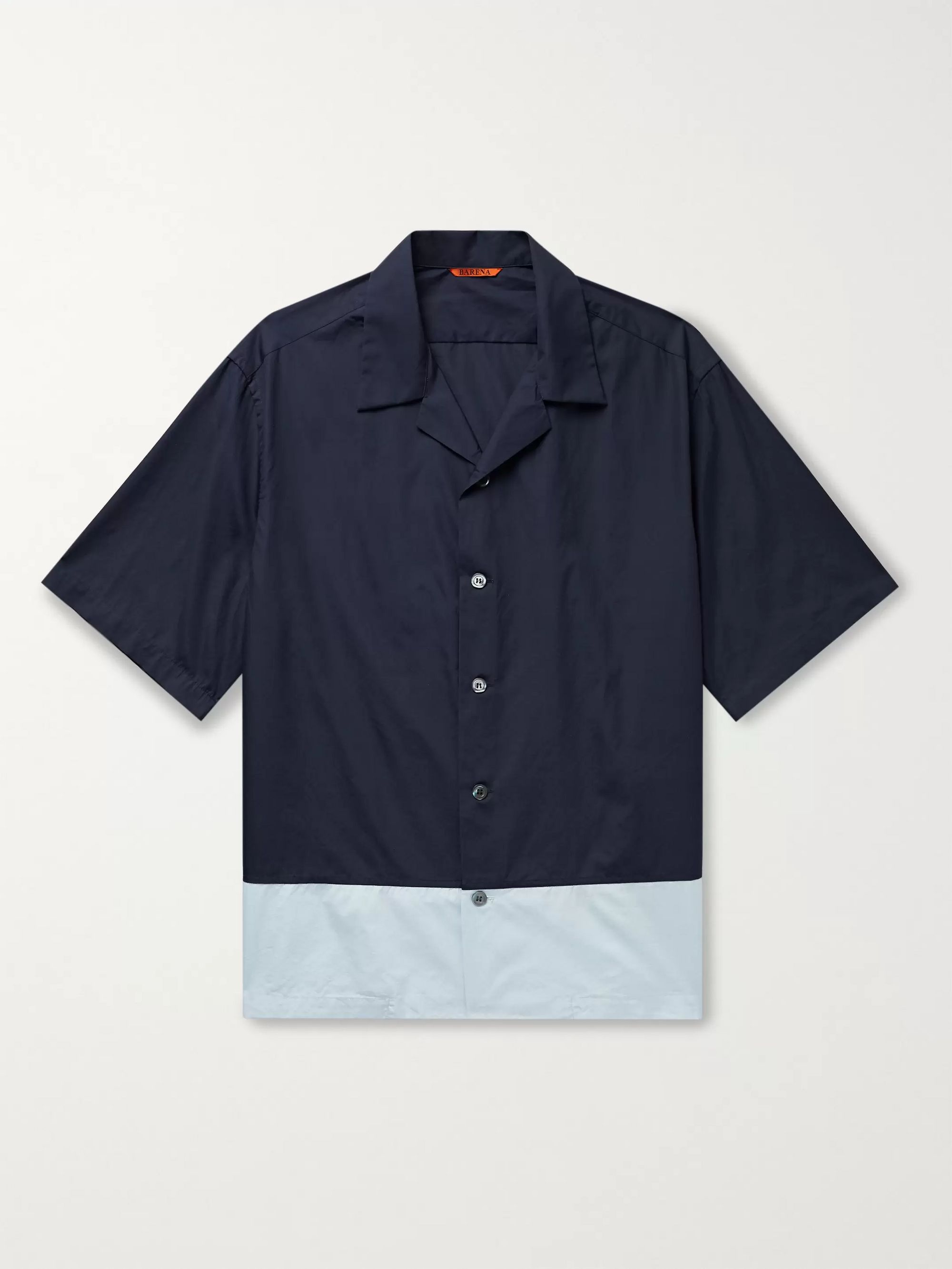 Barena Camp-Collar Colour-Block Cotton-Poplin Shirt