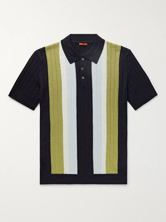 Barena Slim-Fit Striped Ribbed Virgin Wool Polo Shirt