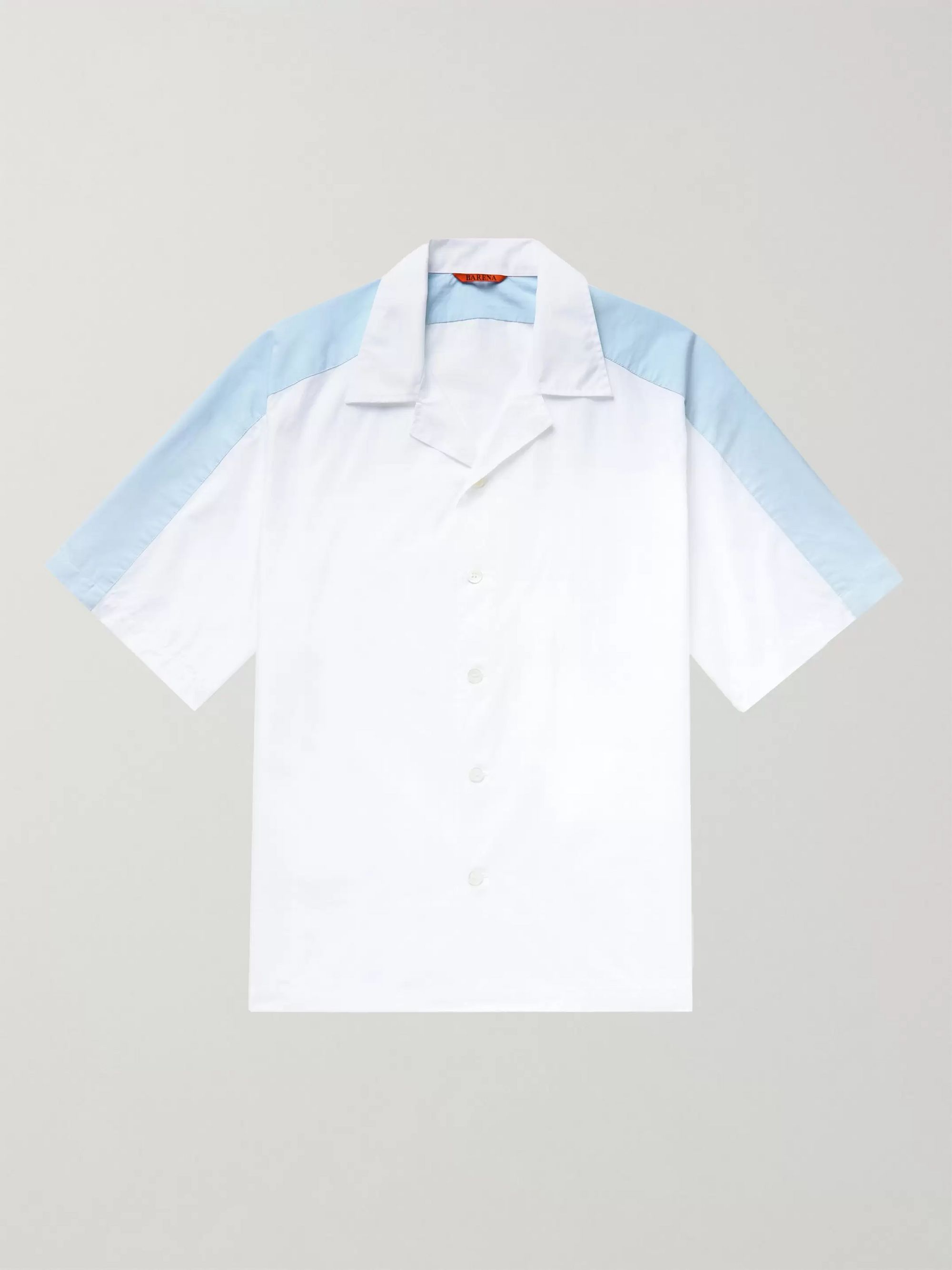 Barena Colour-Block Camp-Collar Cotton Shirt