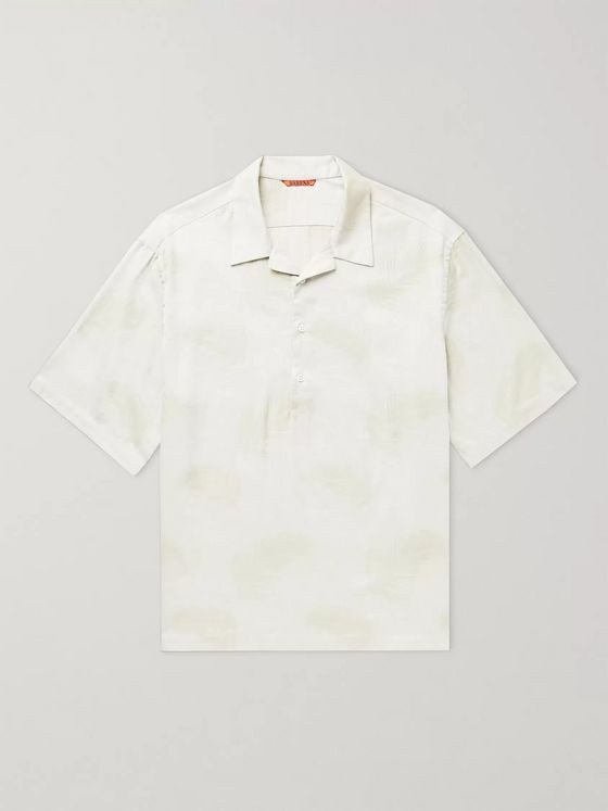 Barena Camp-Collar Printed Cotton Half-Placket Shirt