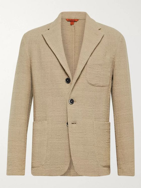 Barena Beige Slim-Fit Unstructured Cotton-Blend Bouclé Blazer