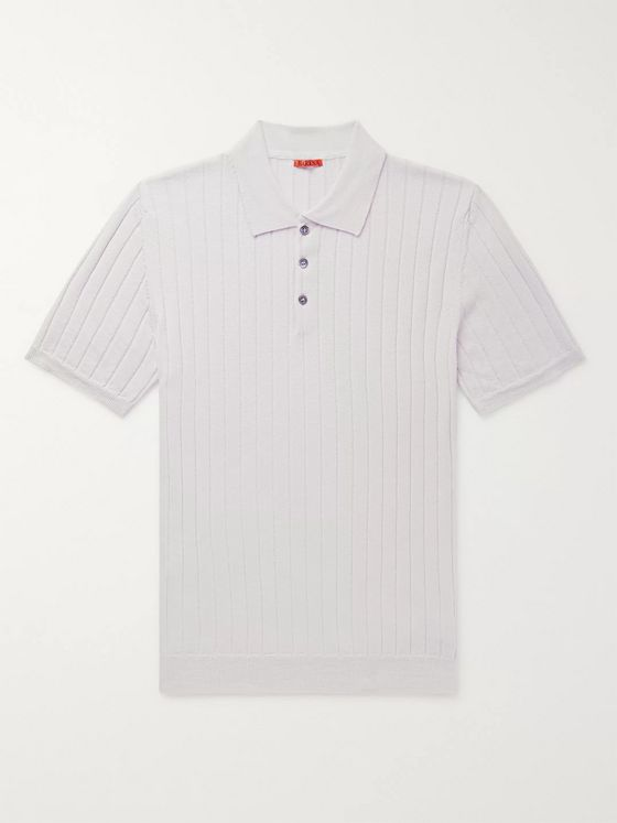 Barena Slim-Fit Ribbed Virgin Wool Polo Shirt