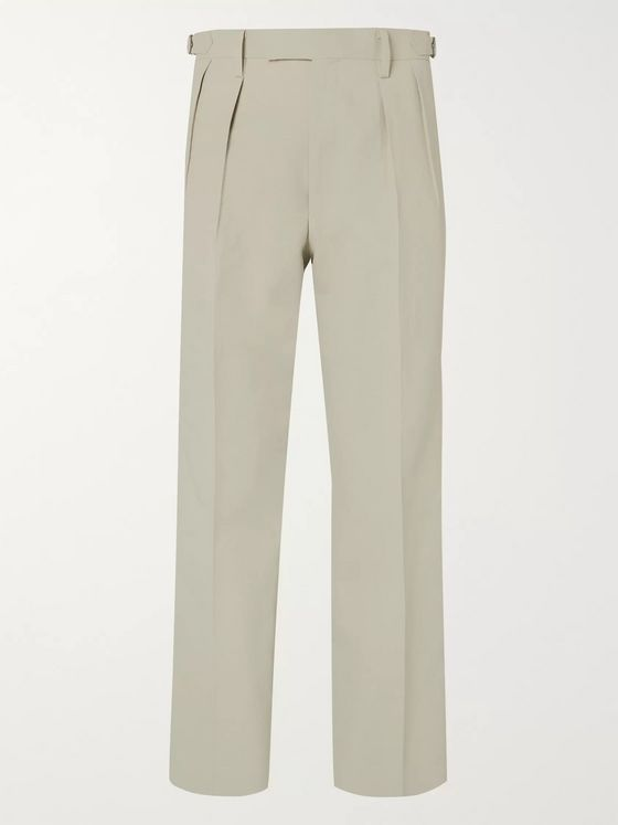 Auralee Pleated Wool and Washi-Blend Wide-Leg Trousers