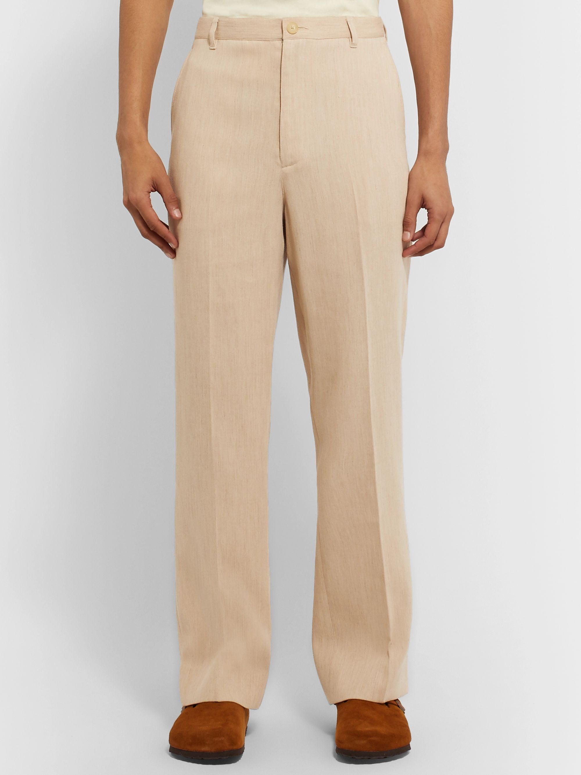 Auralee Double-Faced Cotton and Camel Hair-Blend Trousers
