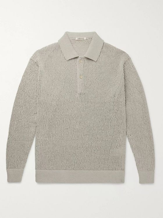 Auralee Open-Knit Cotton Polo Shirt