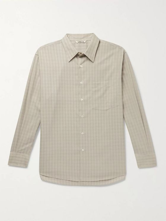 Auralee Puppytooth Wool Shirt